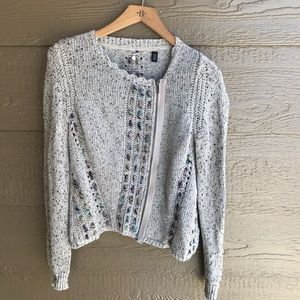 Anthro knitted & knotted assymetrical cardigan